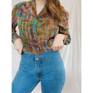 Vintage 100% Silk Colorful Button Up